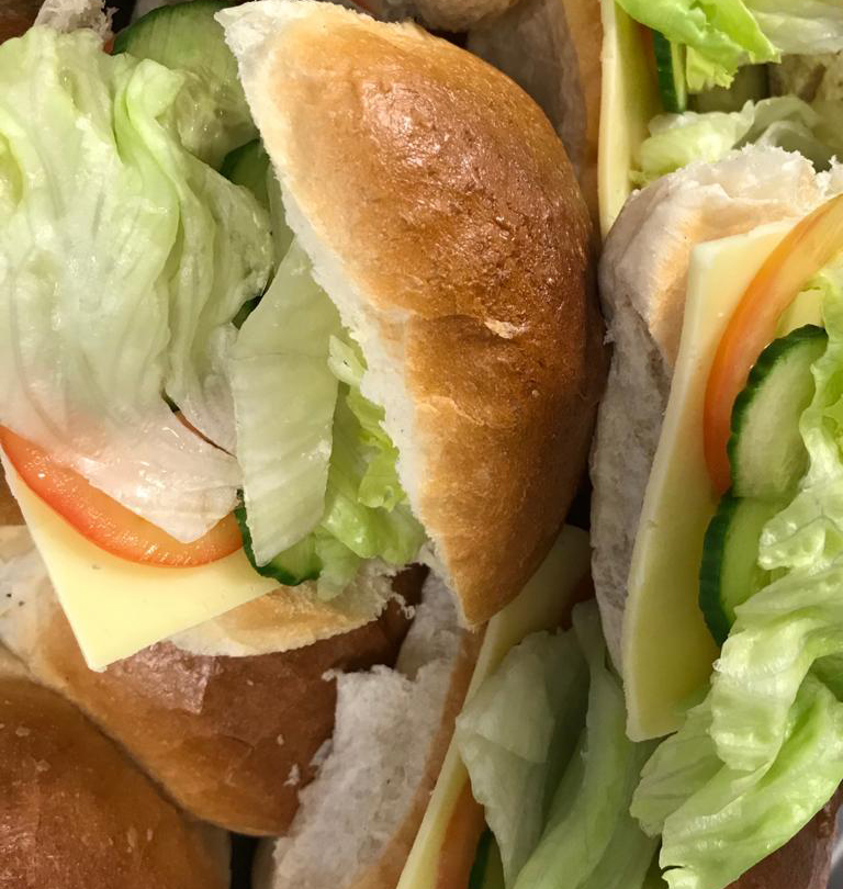 Freshly prepared sandwiches